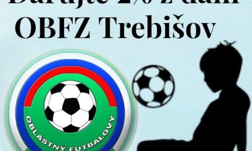 Darujte 2 percentá z dane na podporu mládežníckeho futbalu v okrese Trebišov